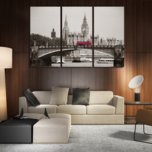 3 Panel Wall Art Canvas Painting London City Palace of Westminster Picture Artwork Red Bus Bridge Print Home Decor With NO FRAME