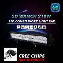"20"" 210W 5D Cree Chips Combo LED Work Light Bar Off-road Driving Lamp Straight External Lights SUV ATV Car Lamps For Jeep Hummer"
