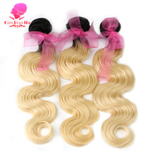 QUEEN BEAUTY HAIR T1B/613 2 Tone Dark Roots Blonde Brazilian Hair Body Wave Remy Hair Extensions Ombre Human Hair Bundles