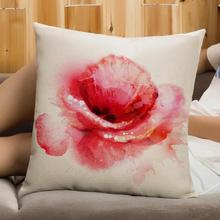Free Shipping Custom Transparent Flowers Printing Soft Short Plush Throw Pillow Home Sofa Chair Seat Back Cushion