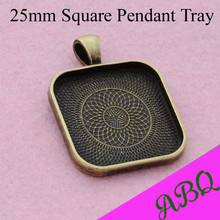 25mm Antique Bronze Square Blank Pendant Tray, 1 Inch Square Glass Cabochon Setting, Cameo Setting