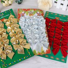 12pcs christmas Flocking Bronzing Bow tie decorations for home natal Pendant tree decorations navidad enfeites de natal kerst