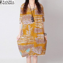 ZANZEA Women Tops Blusas Oversized Round Neck Short Sleeve Baggy Kaftan Evening Party Short Mini Dress Vestido