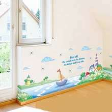 Lake Boat Cartoon Wall Stickers Removed Printing Magic Cartoon Children Room Background Decorative PVC Baby Wall Stickers Poster(China)