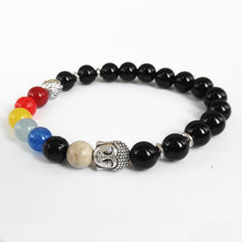 Kejialai 2018 New Products Retail 8mm Black Onyx Beads Lotus 7 Chakra Buddha Bracelet Yoga Meditation Energy Jewelry M-L363(China)