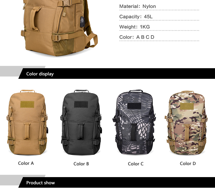 50L Rechargeable Outdoor sports Military Tactical Rucksack travel Camping Hiking Backpack climbing bag double shoulder outdoor bag (2)