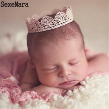 Newborn Baby Photography Props Baby Lace Crown Newborn Hairband 0-3 months Newborn Photography Accessories Crochet Newborn Hats(China)