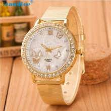 High Quality Luxury Women Ladies Crystal Butterfly Gold Stainless Steel Mesh Band Wrist Watch relogio feminino