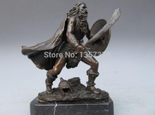 "Free shipping 00249 9""Greece Art Bronze & Marble Sparta warrior Statue AAA(China)"