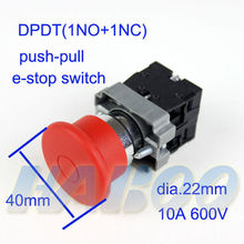 5pcs/lot diameter 22mm mushroom head push-pull emergency stop switch press to lock pull to reset 1NO+1NC DPST push pull switch