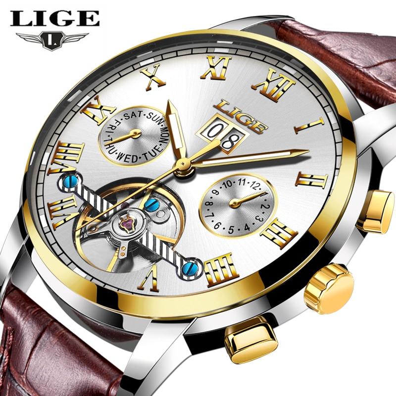 relogio masculino Watches Men Luxury Brand LIGE Automatic Watch Men Fashion Business Wristwatches Man Leather Waterproof Clock<br>