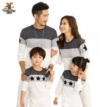 Family Clothing Embroidery Star Cotton T shirt Family Look Fashion Mother Father Baby boy girl clothes Family Matching Outfits(China)