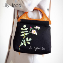 Handmade Embroidery Floral Wool Handbag Female Black Shabby Chic Vintage Retro Elegant Rustic Preppy Cottage Shoulder Bag Etsy