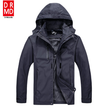 Outdoor Travel Rain Jacket Men Camping Hiking Jacket Plus size Waterproof Solid Gray Fishing Jacket Mountain Climbing Clothing(China)