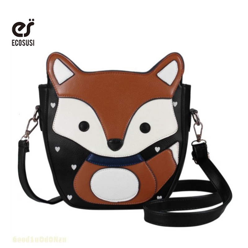 ecosusi 2016 Lovely Cartoon Should bag 3 color of Fox Women Messenger Bags Campus Trendy Women Bag Sweet Women Leather Handbags<br><br>Aliexpress
