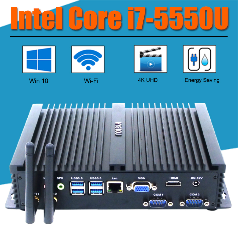 Embedded Fanless i7 5550U Gaming PC Intel Core i5 4200U Mini PC Windows 10 HTPC TV Box HDMI VGA Thin Client Rugged Industrial PC(China (Mainland))