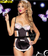 Buy Sexy lace Satin Sleepwear Lingerie Babydoll falbala maidservant pinafore uniform temptation Temptation Outfits 6263
