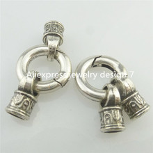 Free shipping 18112 2PCS Snap Hook 16mm Smooth Lock Clasp End Cap Hole 4.8mm Connector Fit Bracelet
