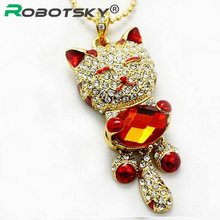 Wholesale Promotion New Fashion Crystal Cat Metal USB Genuine 4GB 8GB 16GB 32GB USB 2.0 Memory Flash Stick Pen Drive