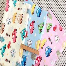 50x40cm Cute Beige Pink Blue 3pcs Cartoon Car Cotton Fabric Bundle For DIY Doll Sewing(China)