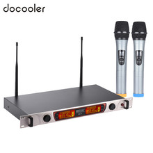 Dual-Channel Meeting Handheld Wireless UHF Microphone Mic System 2 Microphones 1 Receiver w/ LCD Display For Karaoke Party(China)