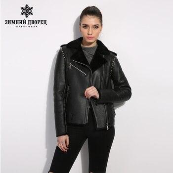 Đen genuine Leather phụ nữ fur coat phong cách Đường Phố phụ nữ mùa đông áo khoác Nữ áo da cừu Ngắn đoạn ve áo