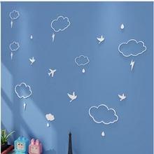 23PCs/set Water Drop Cloud Birds Pattern Wood Wall Stickers Cartoon 3D Wall Sticker Ins Nordic DIY Children Bedroom Decoration(China)