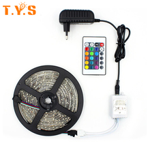SMD 2835 Strip TV Background Tape 5M 300 Leds RGB Set With Power Adapter & 24 Key Controller Ribbon Diode Feed Tiras Verlichting