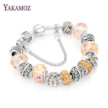 YAKAMOZ European Ribbon Charm Bracelet for Women Luxury Brand Crystal Beads Snake Chain Bracelets Silver Color Jewelry 2017