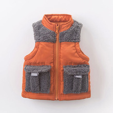 Fall Winter Vests kids boy clothes Deep Orange Patchwork Pocket children baby boy winter vests waistcoat wadded jacket outerwear(China)