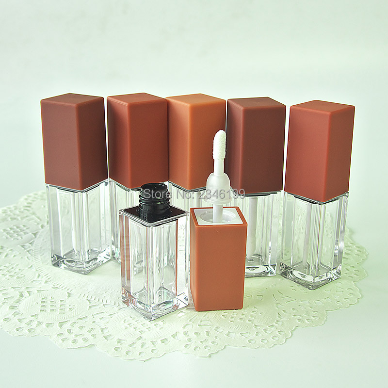Pumpkin Color Lip Gloss Tube 5ml Transparent Lip Glaze Tube Cosmetic Container Lipgloss Packaging Empty Lip Gloss Container