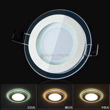 50pcs/lot 6w warm white cool white natural white three color changeable LED ceiling glass crystal panel light color change light