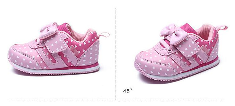 17 Autumn girl running sports shoes heart print black pink bowknot baby girls shoes Children casual Sneaker kid soft gym shoes 10