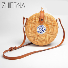 ZHIERNA Travel Summer Bag for Ladies Blue and White Porcelain Decoration Women Circle Straw Bag Handmade Rattan Bag Knitting bag(China)
