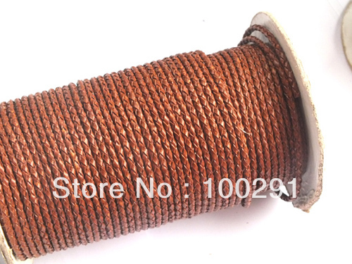 Factory direct sale//(3MM)100m/lot braided leather cords hot on sale ,and the 10kinds colors for choice ()