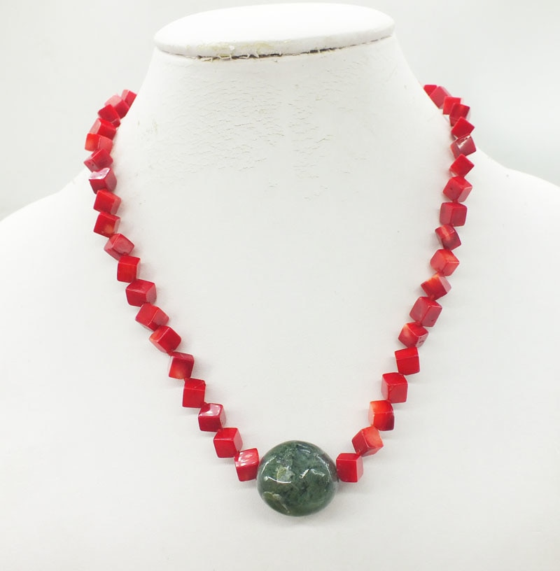 2019-1-17#  6MM Natural Red Coral Necklace with Crystal, Pendant, Classic Ladies Necklace Pendant 18""