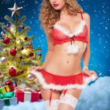 Buy Hot Sale Women sexy lingerie Feathers Cosplaying Santa Claus Uniforms Voile perspective Erotic underwear porn christmas costumes
