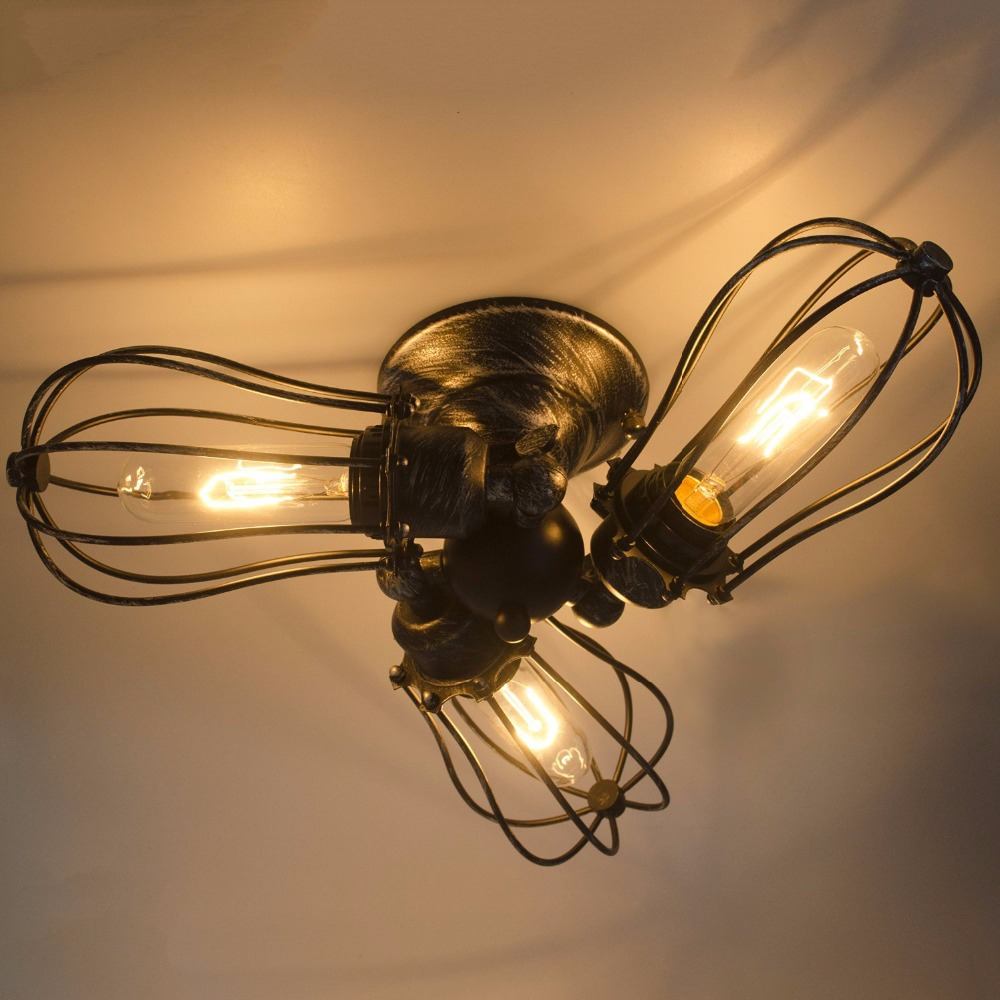 Vintage Metal Rotatable Flush Mount Light Max 180W With 3 Ceiling Light Wall Lamp Black and Rust Finish Cafe Bar Hall <br><br>Aliexpress