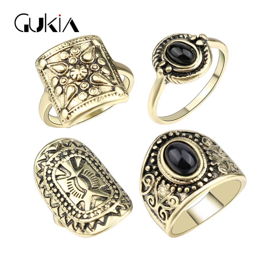 Gukin Fashion Punk Black StoneMidi Rings For Women Plating Ancient Gold Vintage Jewelry Ottoman Style Jewelry Ring 4Pcs/Lot(China (Mainland))