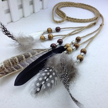 Fashion feather belt with Bohemia dress feather feather headdress essential hair hair band(China)