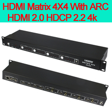 Playvision 4K HDMI 2.0 matrix Switcher 4X4 4 in 4 out with ARC HDMI 2.0 HDCP 2.2 3D IR EDID RS232