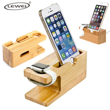 Cell Phone Charger Dock with Watch Bamboo Holder Desk Wood Charging Stand for Apple Watch 2 38mm 42mm iPhone 7 6s Plus Phone(China)