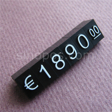 Large Price Cubes Dollar Euro, adjustable snap number digit stick phone watch jewelry snack food counter display stand sign tags(China)