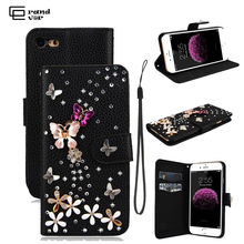 Rhinestone Case For iPhone 7 Glitter Diamond Case For Huawei P8 Lite Flip Wallet PU Leather Cover For Samsung S7 Edge Case Gifts