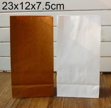 Stand up Kraft Paper Bags, Kraft &White Favor Bag, Open Top Gift Packing Bags, Treat Bag, 23x12x7.5cm 50pcs/lot(China)