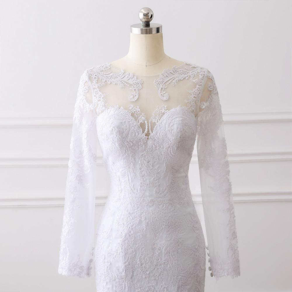 Lover Kiss Vestido De Noiva 2017 Elegant Wedding Gowns Bridal Dresses Popular Vintage Mermaid Long Sleeves Lace Wedding Dress 4