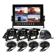 "FREE SHIPPING 4Pin 4CH 9"" Quad Split Car Reversing Monitor Rear Front Side View Car Duty Metal CCTV Camera System for Truck Bus"
