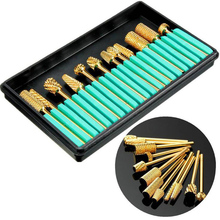 Top Quality 12pcs/set Nail Gold drill bit DIY Industrial Polish Electric Golden File Carbide Drill Bit Polished Dedicated tools