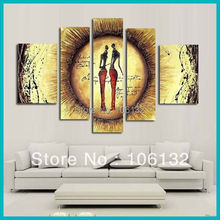 Framed 5 Panel Large Wall Art African Women Paintings quadros Home Decorations Canvas Picture A0485