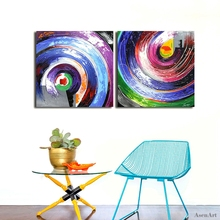 Hand Painted High Quality Modern Abstract Circle Oil Painting On Canvas 2 Panels Purple Canvas Picture Wall Art Home Decoration